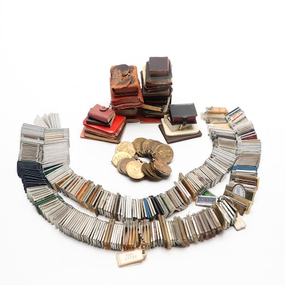 Miniature Books, St. Christopher Medals, and Large Group of Vintage Key Chains
