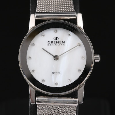Grenen Denmark Steel Mother of Pearl and Crystal Dial Wristwatch