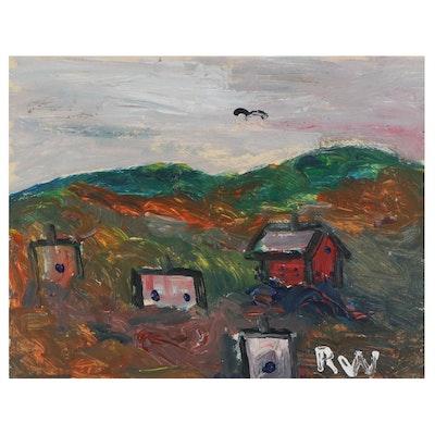 Robert Wright Folk Art Landscape Acrylic Painting, Late 20th Century