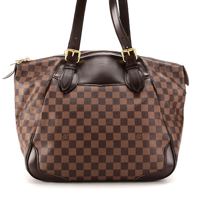 Louis Vuitton Verona GM Shoulder Bag in Damier Ebene Canvas and Smooth Leather