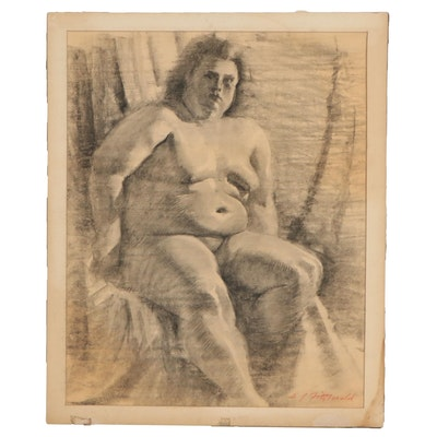 Edmond James Fitzgerald Figurative Charcoal Drawing of Seated Nude
