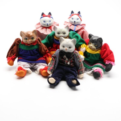 Chinese Handmade Cat Dolls with Painted Porcelain Heads