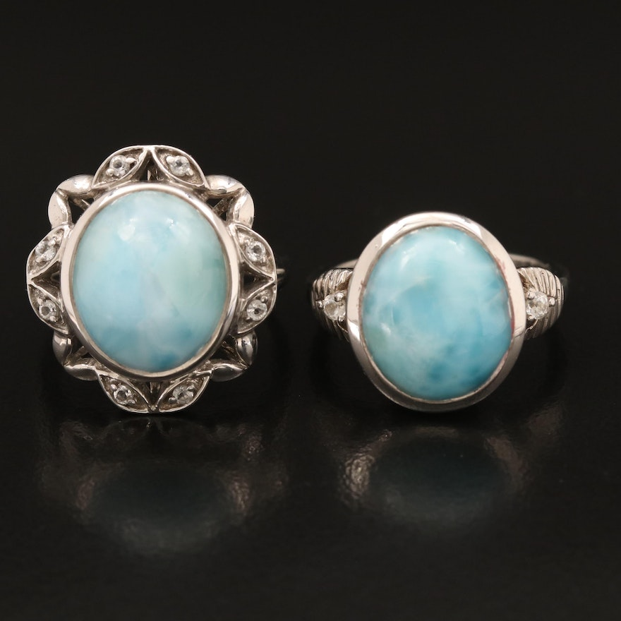 Sterling Larimar and Topaz Rings
