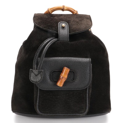 Gucci Bamboo Black Suede and Leather Backpack Purse