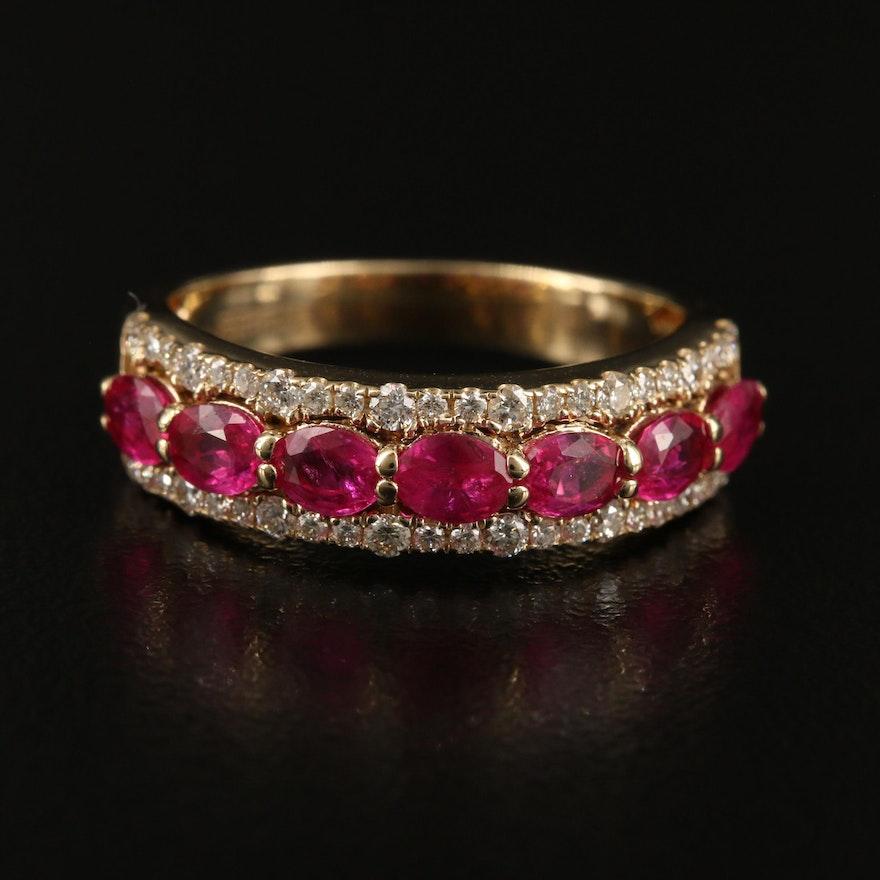 EFFY 14K YELLOW GOLD DIAMOND, NATURAL RUBY RING