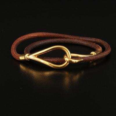 Hermès Leather Jumbo Hook Double Tour Bracelet