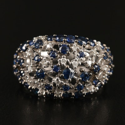 EFFY 14K WHITE GOLD DIAMOND, NATURAL SAPPHIRE RING