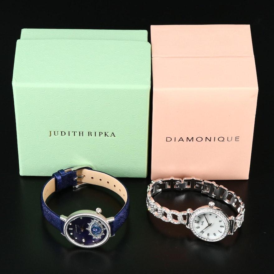 "Judith Ripka ""Evil Eye""and Diamonique ""Pave Chain Link""Cubic Zirconia Wristwatch"