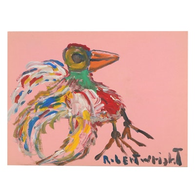 Robert Wright Folk Art Acrylic Painting of Bird, Late 20th Century