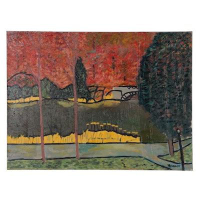 Jerald Mironov Autumn Landscape Oil Painting, Late 20th Century