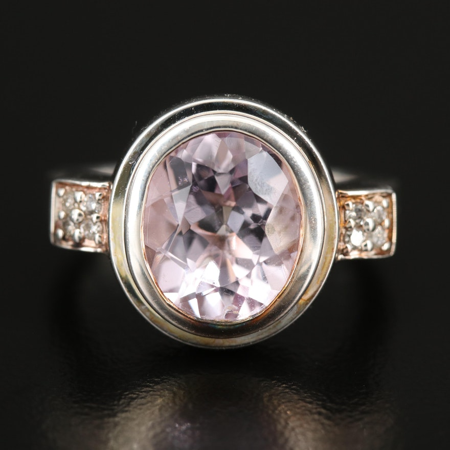 Fine Silver Amethyst and Diamond Ring