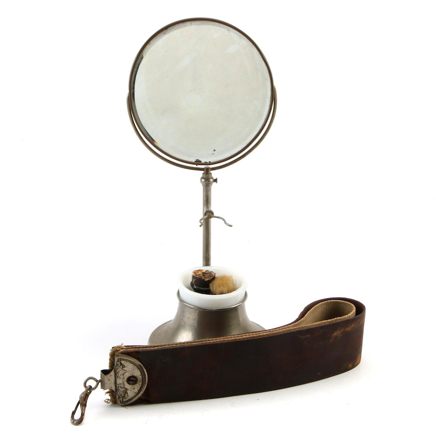 Shaving Mirror with Razor Strop and Brush, Early/Mid 20th Century