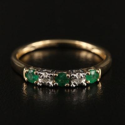 EFFY 14K WHITE & YELLOW GOLD DIAMOND, NATURAL EMERALD RING
