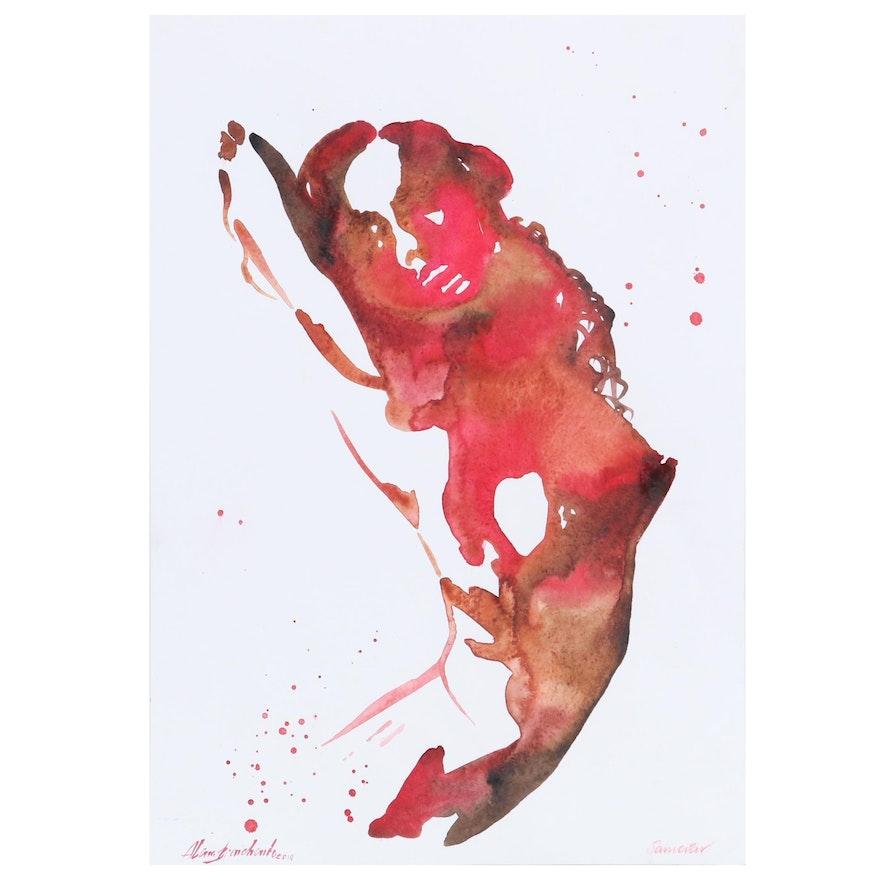Alona Bronchenko Watercolor Painting of Female Nude, 2019