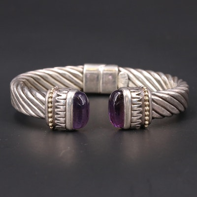 Sterling Amethyst Hinged Cuff with 18K Accents
