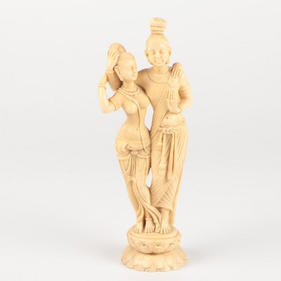 Resin Reproduction Sculpture of Radha and Krishna