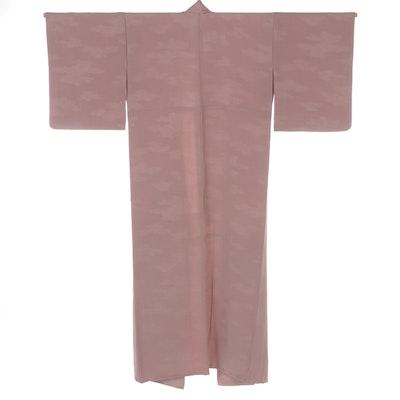 Single Mon Iromuji Kimono in Pink Nami Embellished Jacquard