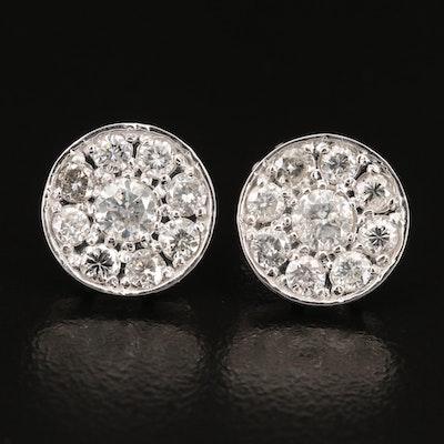 14K 1.68 CTW Diamond Cluster Stud Earrings