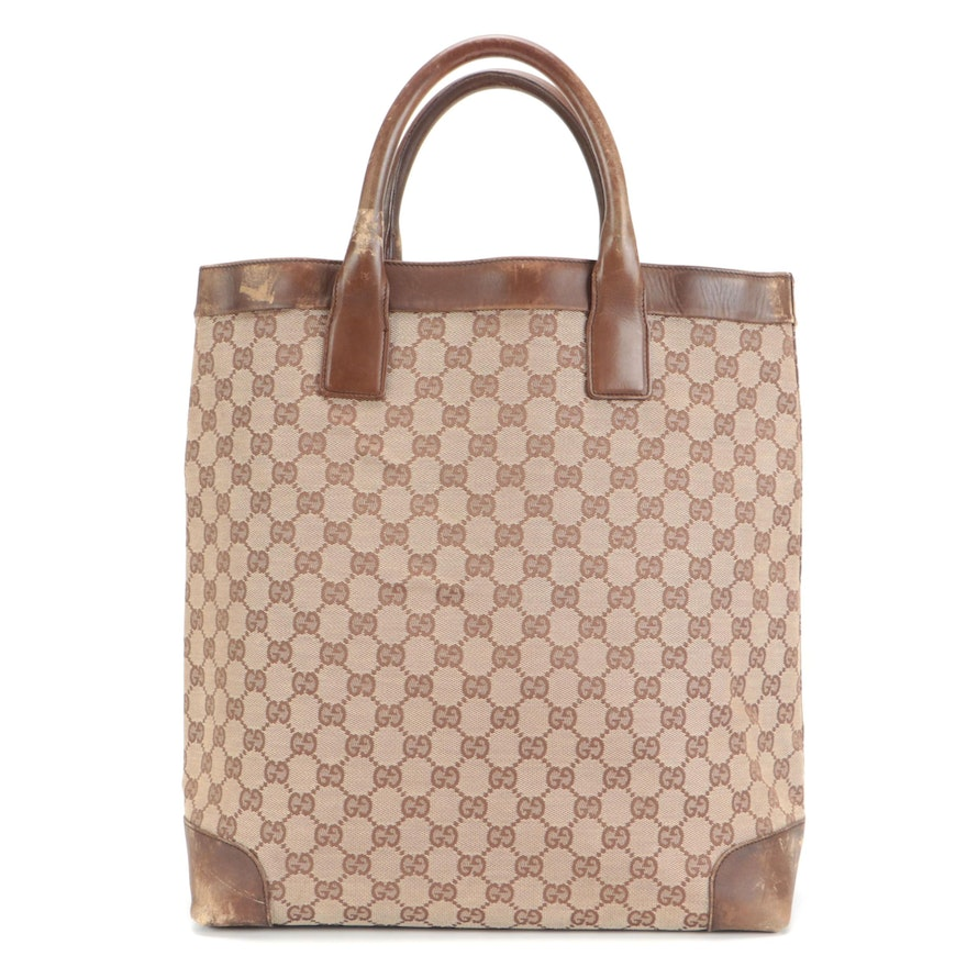 Gucci Tote Bag in GG Canvas with Brown Leather Trim
