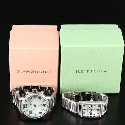 "Judith Ripka ""Charley"" and Diamonique ""The Huxley"" CZ Wristwatches"