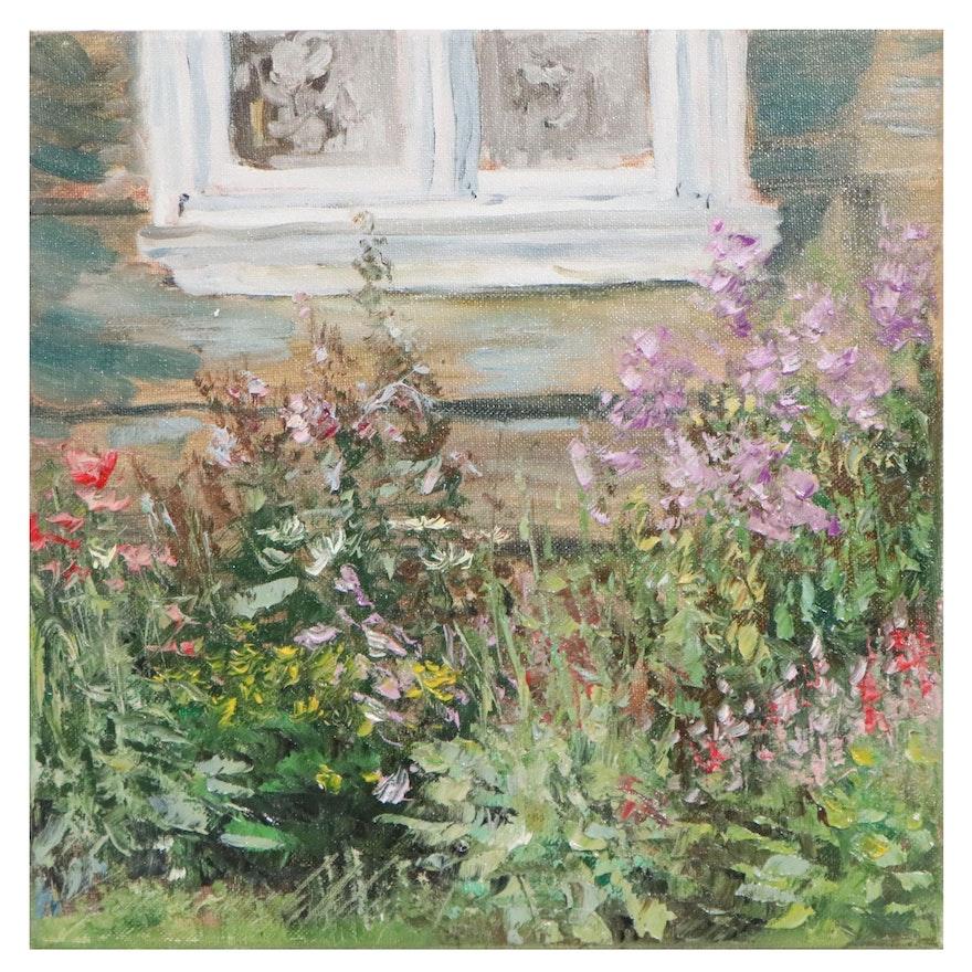 """Garncarek Aleksander Garden Landscape Oil Painting """"Pod oknem"""""""