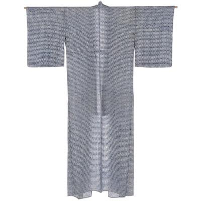 Small Geometric Patterned Hitoe Kimono in Crepe, Shōwa Period
