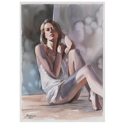 Anastasija Serdnova Watercolor Painting of Reclining Female, 2021
