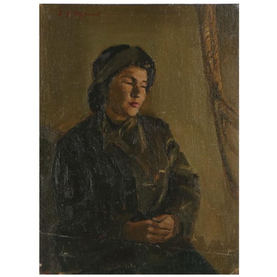 "Edmond James Fitzgerald Portrait Oil Painting ""Soluvar,"" 1984"