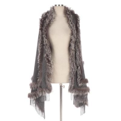 Adrienne Landau Silver Fox Fur and Cashmere Cape Wrap