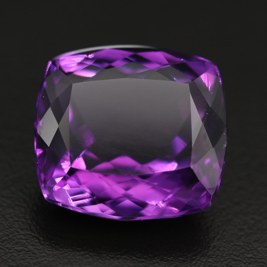 Loose 40.58 CT Cushion Faceted Amethyst