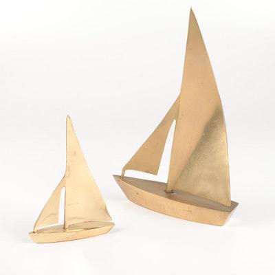 Commodore Award 1984 Brass Sailboats