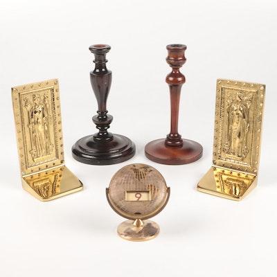 Virginia Metalcrafters Brass Bookends, Perpetual Calendar, and Candlesticks