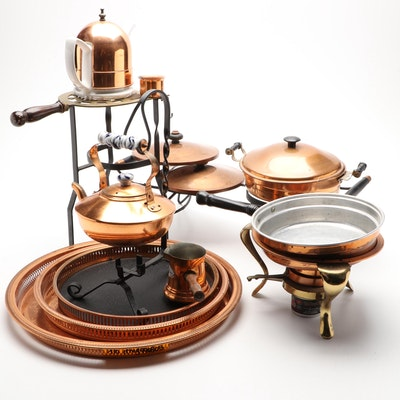 Copper and Brass Chafing Dish and Other Tableware, Late 20th Century