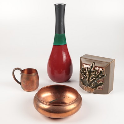 Copper Bowl and Cup with Ceramic Vase and Figurine