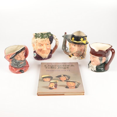 Royal Doulton Ceramic Toby Jugs and Collector Book, Mid to Late 20th Century