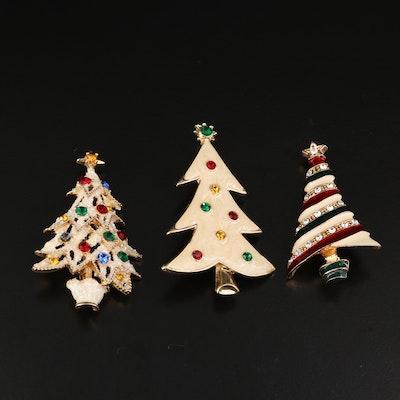 Vintage Eisenberg Ice Rhinestone Christmas Tree Pins