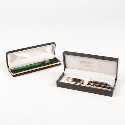 Pierre Cardin Pen Set and Elysee Green Enameled Pen