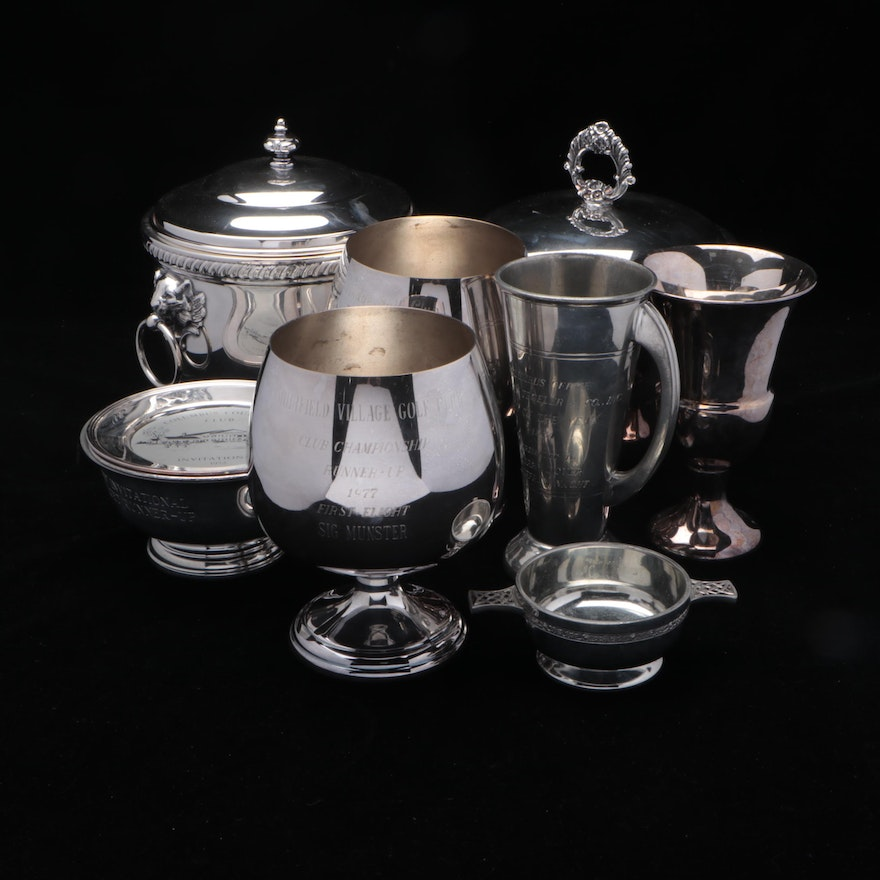 Silver Plate and Pewter Trophies and Other Serving Pieces, Late 20th Century