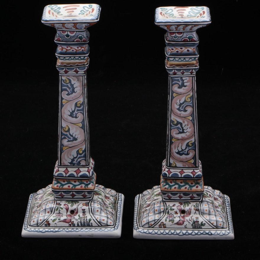 Portuguese Faience Ceramic Candlesticks