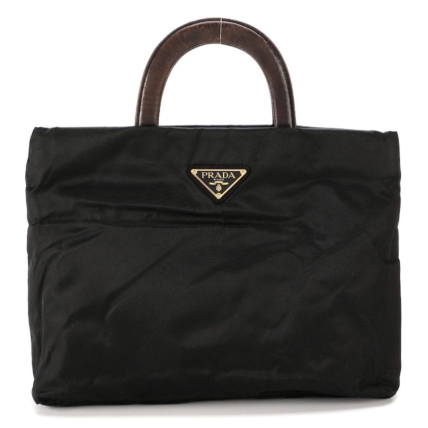 Prada Tote in Black Tessuto Nylon with Brown Leather Handles