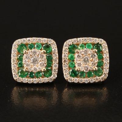 EFFY 14K YELLOW GOLD DIAMOND, NATURAL EMERALD EARRINGS