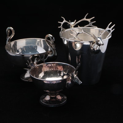 Aluminum and Metal Double Handled Stag, Swan Bowls and Ice Bucket