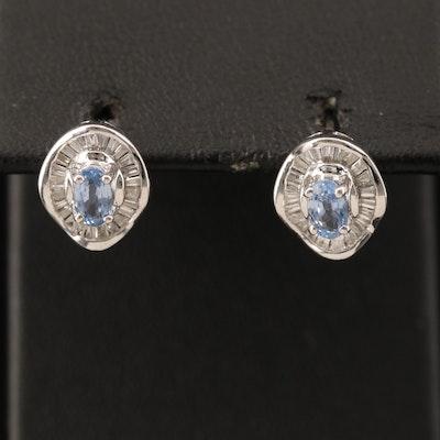 EFFY 14K WHITE GOLD DIAMOND, NATURAL CEYLON SAPPHIRE EARRINGS