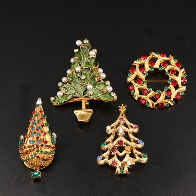 Eisenberg Ice and Joseph Warner Rhinestone Christmas Pins