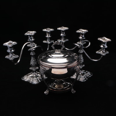Silver Plate Baroque Style Candelabra with Chafing Serving Dish, Mid-20th C.