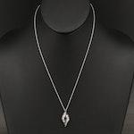 EFFY 14K WHITE GOLD DIAMOND, BLACK DIAMOND, PENDANT