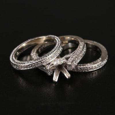 14K 1.33 CTW Diamond Semi-Mount Ring and Band Set
