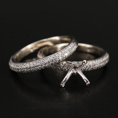 14K 1.16 CTW Pavé Diamond Semi-Mount Ring and Band Set