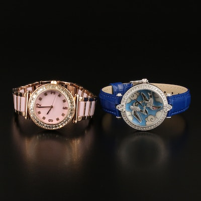 """Judith Ripka """"Swallow"""" and Dominique Rose Gold Tone Cubic Zirconia Wristwatches"""