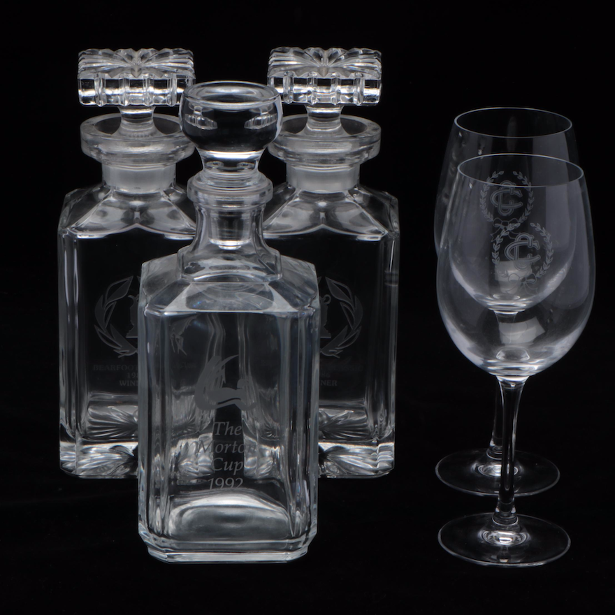 Etched Glass Decanters and Wine Glasses, Late 20th Century
